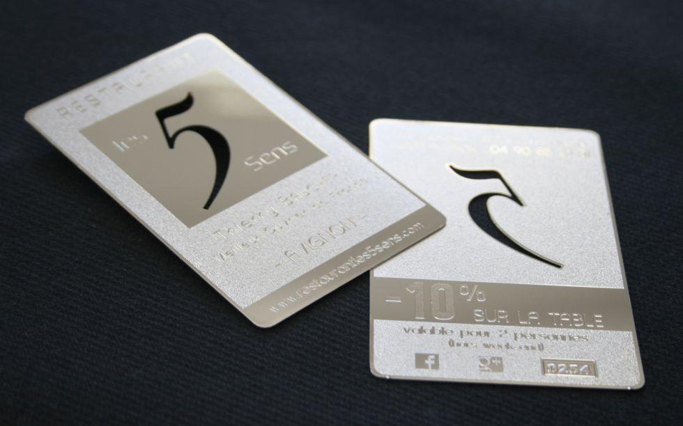 Carte De Visite Metal 5sens Argent Brillante