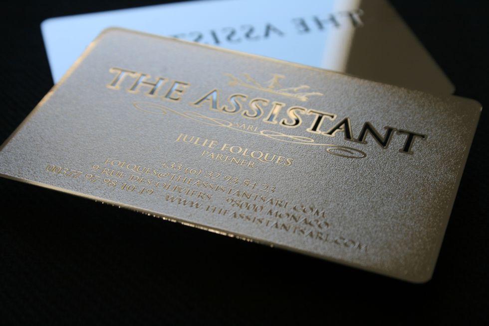 Metal THE ASSISTANT Brillante Carte De Visite Personnalisee En Acier Couleur Argent