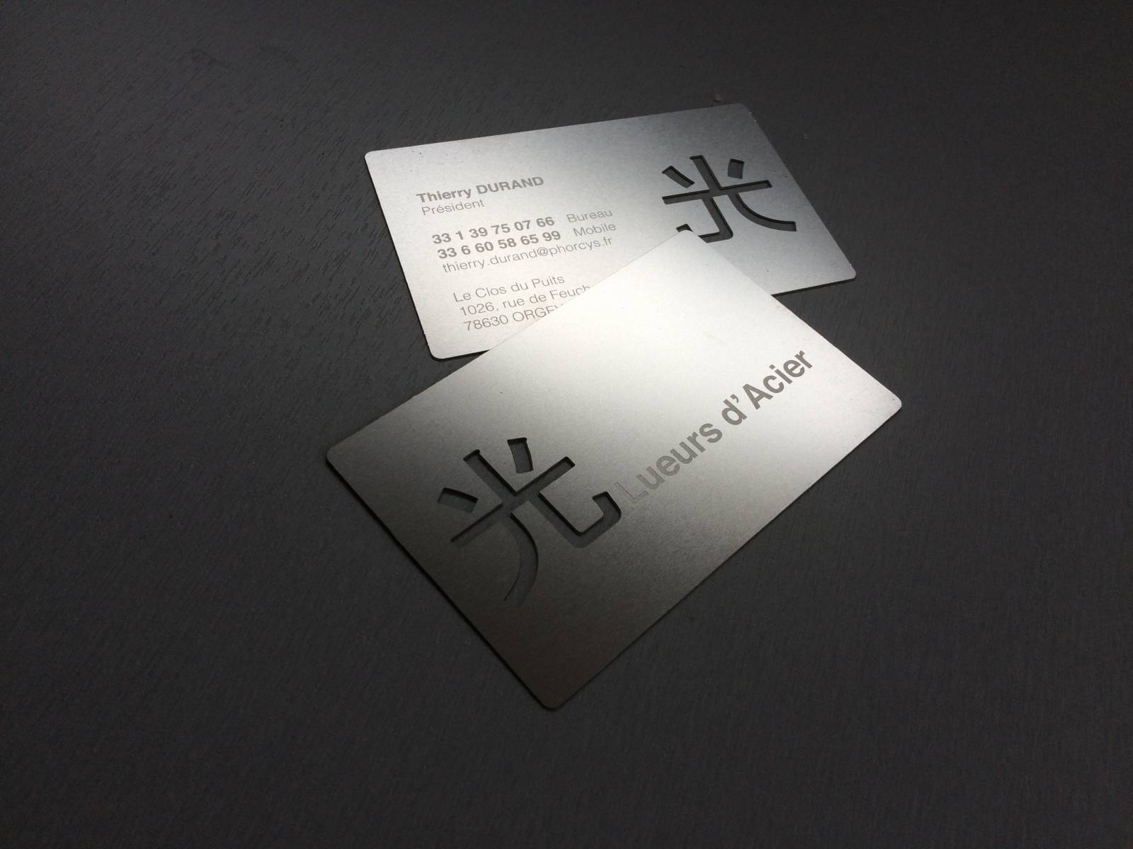 Carte Professionnelle En Acier Mat Design Pour Menuiserie A Nice 06