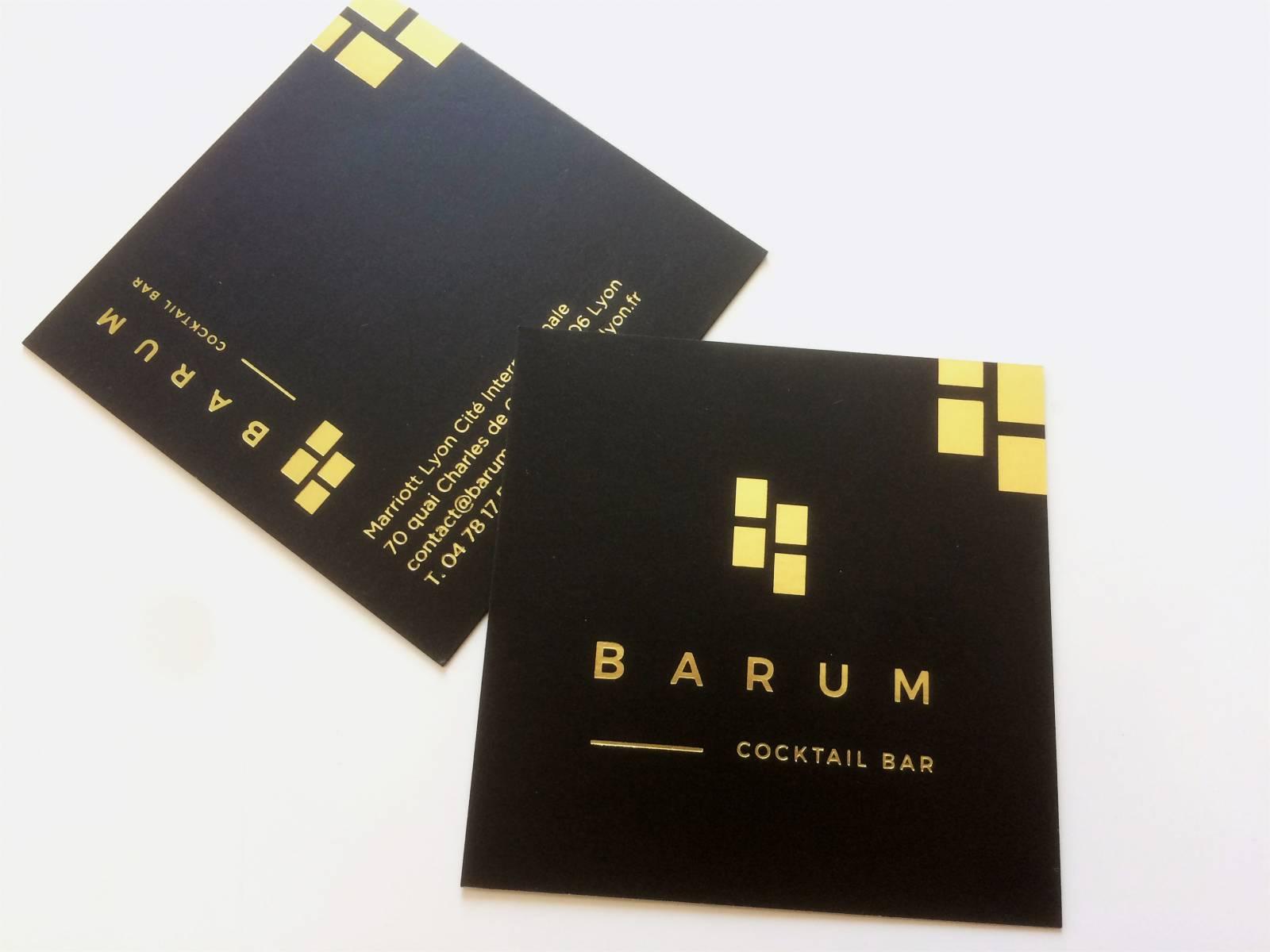 Carte De Visite Carr Noir Marquage Or Pour Htel Restaurant Luxe Lyon 69