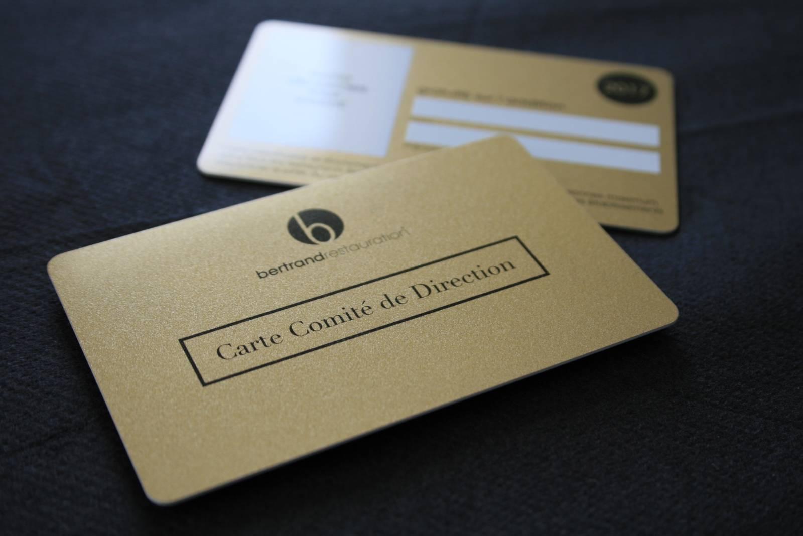 Carte De Membre En PVC Or Avec Paillettes Et Overlay Pour Restaurant A Paris 75