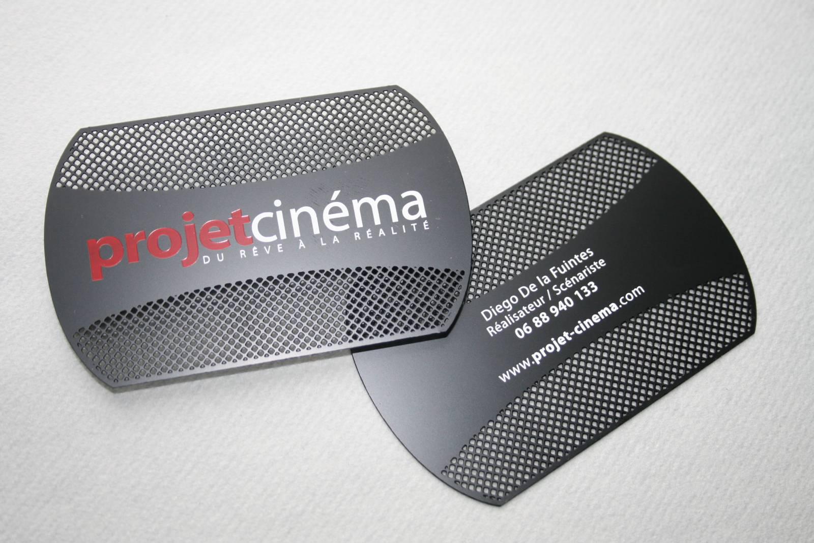 Carte Metal Noir Personnalisee Originale Ronde Perforee Pour Cinema Realisateur Acteur A Nice 06